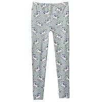 Girls 4-16 Unicorn Print Fleece-Lined Seamless Leggings