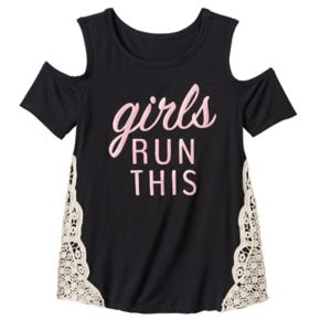Girls 7-16 Miss Chievous Cold Shoulder Crochet Lace Side Top