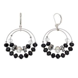 Simply Vera Vera Wang Black Bead Nickel Free Double Drop Hoop Earrings