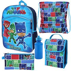 Kids PJ Masks Catboy, Owlette & Gekko 5 pc Backpack, Lunch Box & Accessory Set