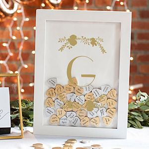 Cathy's Concepts Gold Finish Monogram Shadowbox Heart Drop Guestbook 101-piece Set