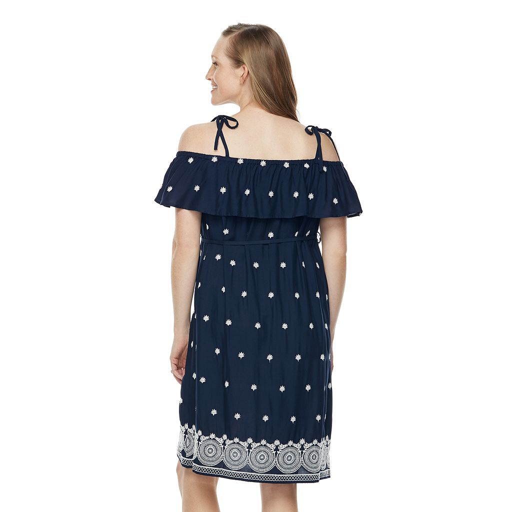 Maternity a:glow Embroidered Off-the-Shoulder Dress