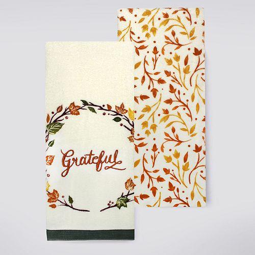 Celebrate Fall Together Grateful Kitchen Towel 2 Pk
