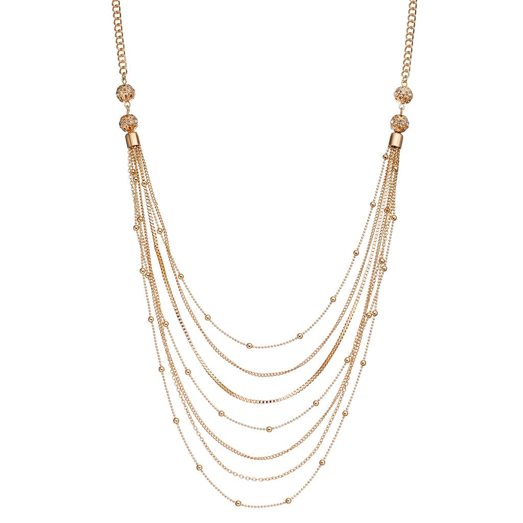 Beaded Chain Swag Necklace