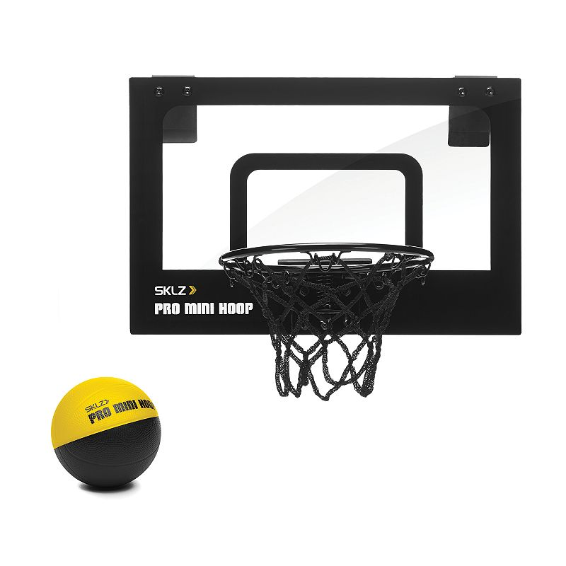 Sklz Pro Mini Hoop Micro Set, Multicolor The Sklz Pro Mini Hoop Micro Set assembles quickly and securely so you can get a mini game of hoops up and rolling in no time! Clear, easy-mounting shatterproof backboard Break-away steel rim 4-inch foam mini-ball Padded backing protects the mounting door Heavy-duty, 3-ply net Pro-style replica graphics What's Included Backboard & hoop Mini basketball Polycarbonate Imported Model no. Spmh-MIC-001 Size: One Size. Color: Multicolor. Gender: Unisex. Age Group: Kids.