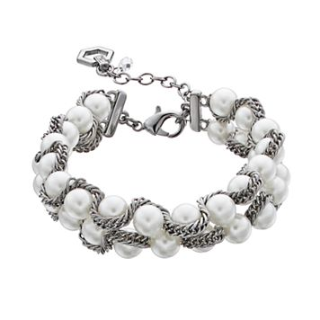 Simply Vera Vera Wang Chain Wrapped Simulated Pearl Bracelet