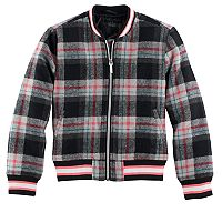 Girls 4-16 Collection B Fleece Plaid Bomber Jacket