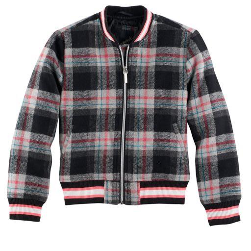 Girls 4-16 Collection B Fleece Plaid Bomber Jacket