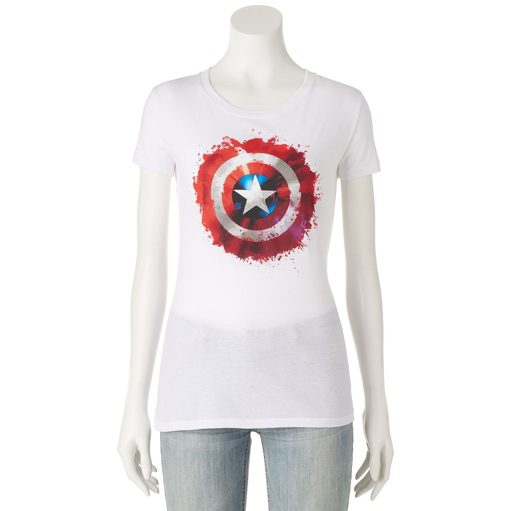 Juniors' Marvel Captain America Shield Graphic Tee