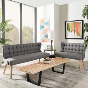 Baxton Studio Melody Modern Loveseat & Sofa 2-piece Set