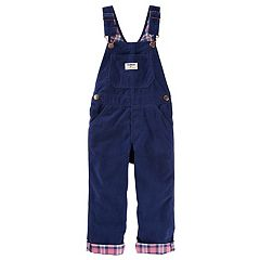 Baby Girl OshKosh B'gosh® Corduroy Plaid-Lined Overalls