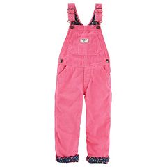 Baby Girl OshKosh B'gosh® Floral Fleece-Lined Pink Corduroy Overalls