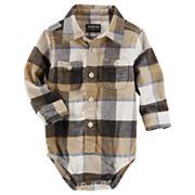 Baby Boy OshKosh B'gosh® Brown & Black Plaid Flannel Bodysuit