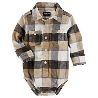 Baby Boy OshKosh B'gosh® Brown & Black Plaid Flannel Bodysuit