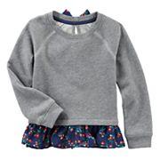 Baby Girl OshKosh B'gosh® Floral Chiffon Trim Sweater