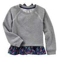 Baby Girl OshKosh B'gosh® Floral Chiffon Trim Sweater
