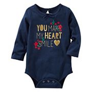 Baby Girl OshKosh B'gosh® 'You Make My Heart Smile' Foil Print Bodysuit