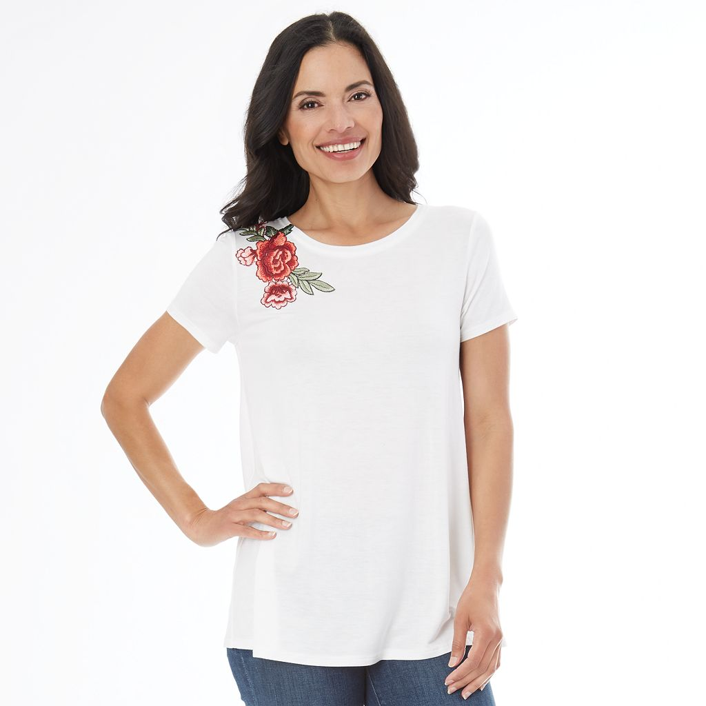 Women's AB Studio Floral Applique Tee