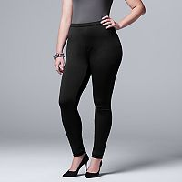 Plus Size Simply Vera Vera Wang Fleece-Lined Denim Leggings