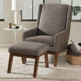 Baxton Studio Aberdeen Accent Chair & Ottoman 2-piece Set