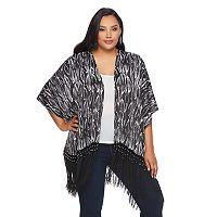 Plus Size Jennifer Lopez Snakeskin Fringe-Hem Kimono