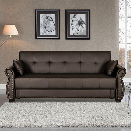 Serta Lucia Dream Faux-Leather Convertible Sofa Bed