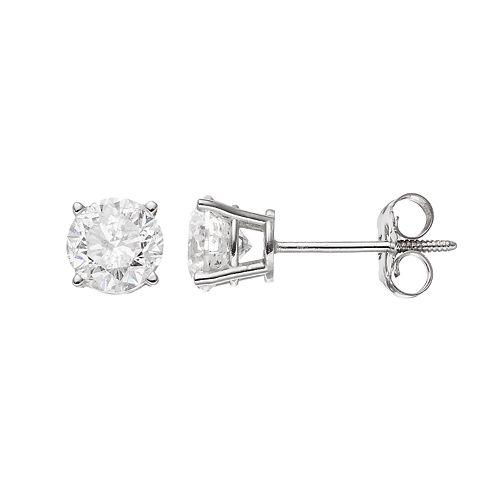 14k White Gold 1 Carat T.W. Diamond Solitaire Stud Earrings