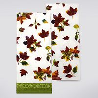 Celebrate Fall Together Watercolor Leaves Kitchen Towel 2-pk.