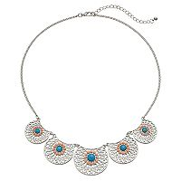 Mudd® Simulated Turquoise Filigree Disc Statement Necklace