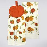 Celebrate Fall Together Pumpkin Button-Top Kitchen Towel 2-pk.
