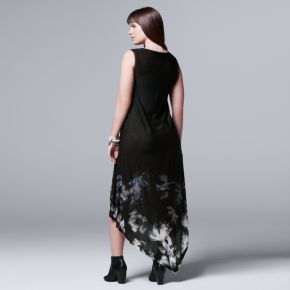 Plus Size Simply Vera Vera Wang Floral Asymmetrical Tank Dress