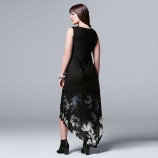 Plus Size Simply Vera Vera Wang Floral Asymmetrical Tank Dress