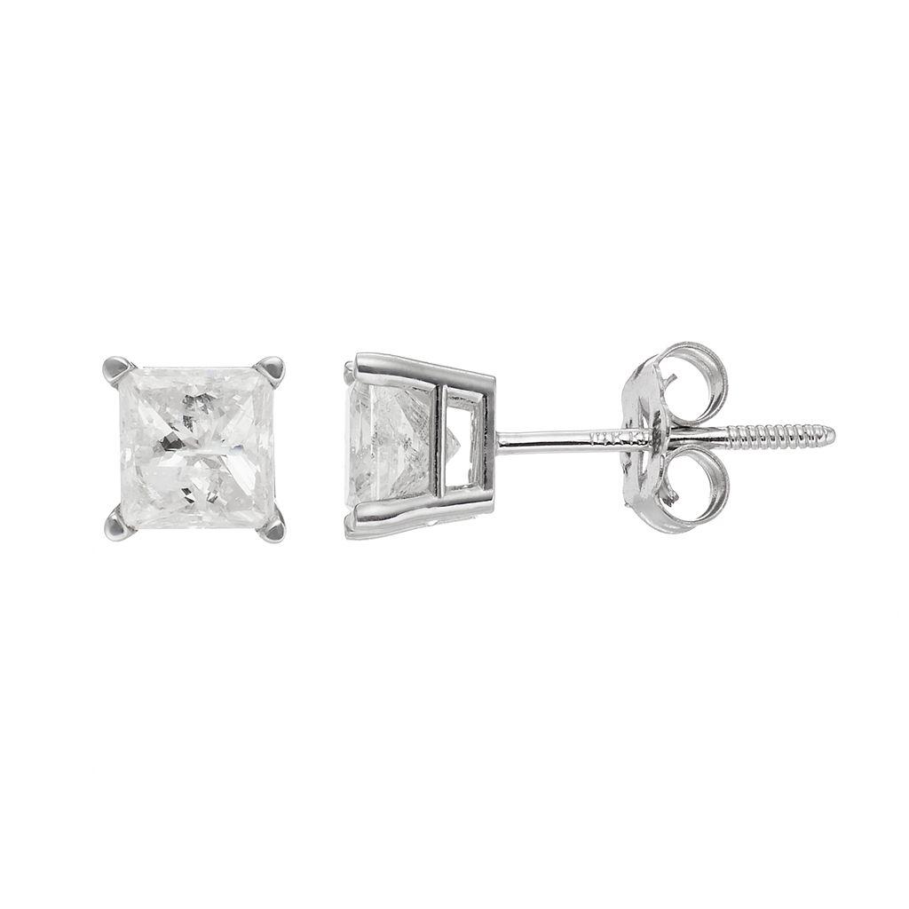 14k White Gold 1 Carat T.W. Diamond Square Stud Earrings