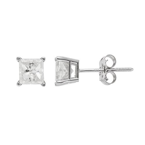 14k White Gold 1 Carat T.W. Diamond Square Solitaire Stud Earrings