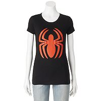 Juniors' Marvel Spiderman Logo Graphic Tee