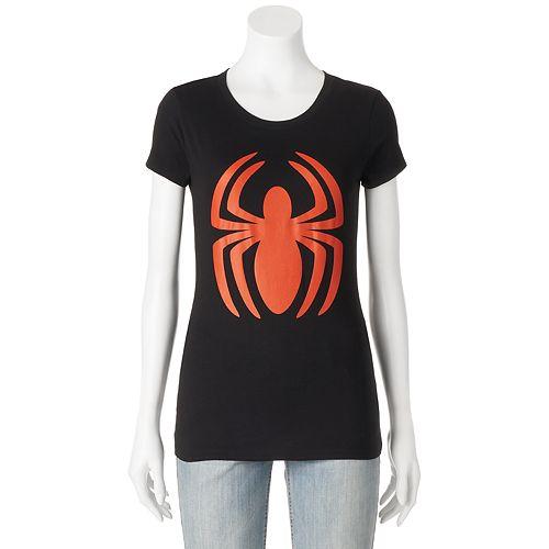 Juniors' Marvel Spiderman Logo Graphic Tee