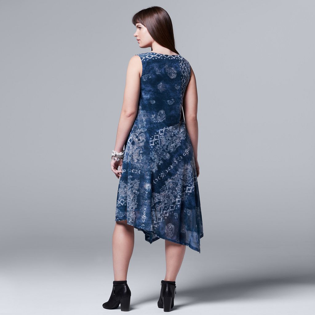 Plus Size Simply Vera Vera Wang Paisley Asymmetrical Midi Dress