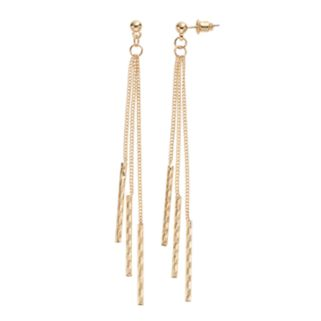 Triple Textured Stick Nickel Free Linear Drop Earrings