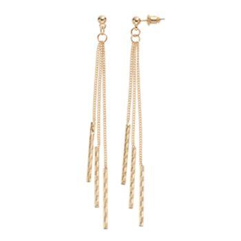 Triple Textured Stick Nickel Free Linear Drop Earrings