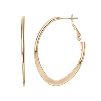 Flat Oval Nickel Free Hoop Earrings