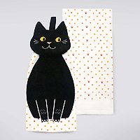 Celebrate Halloween Together Black Cat Button-Top Kitchen Towel 2-pk.