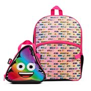 Kids Rainbow Emoji Backpack & Lunch Box Set