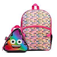 Kids Rainbow Emoji Backpack & Lunch Box Set