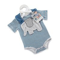 Baby Boy Baby Aspen Little Peanut Elephant Bodysuit & Bib Gift Set