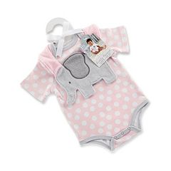 Baby Girl Baby Aspen Little Peanut Elephant Bodysuit & Bib Gift Set
