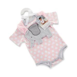 Baby Girl Baby Aspen Little Peanut Elephant Bodysuit & Bib Gift Set