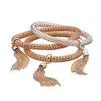 Two Tone Tassel Mesh Bracelet Set
