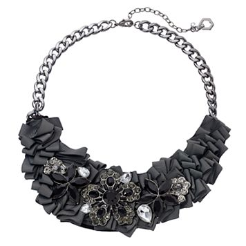 Simply Vera Vera Wang Black Ribbon Flower Statement Necklace