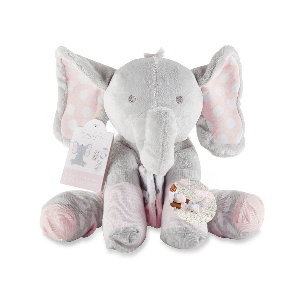 Baby Girl Baby Aspen Lilly the Elephant Plush Toy & Socks Set