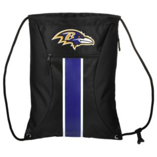 Forever Collectibles Baltimore Ravens Striped Zipper Drawstring Backpack